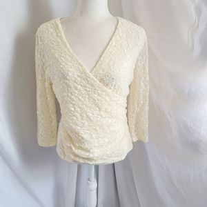 Coldwater Creek ivory lace romantic top stretch Sm